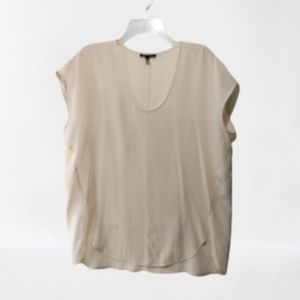 Eileen Fisher silk blouse top s champagne SS